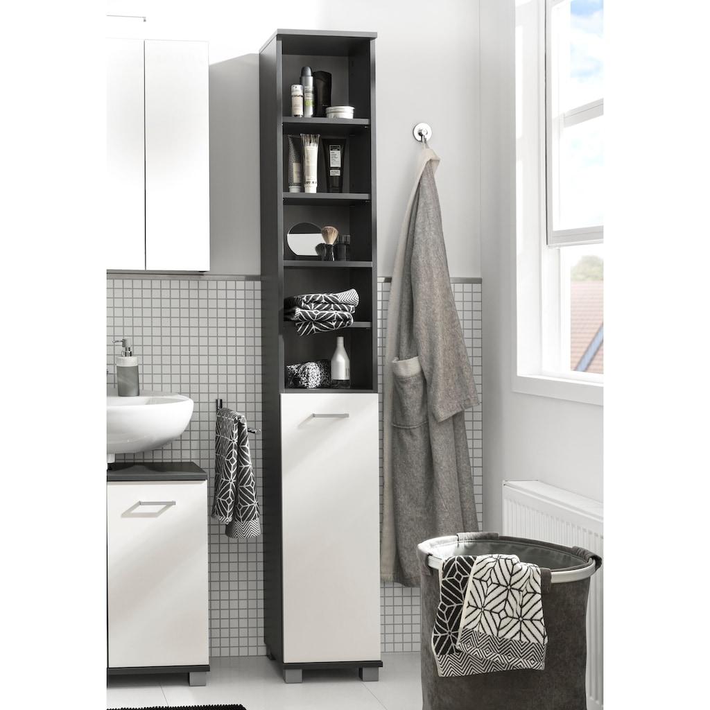 Schildmeyer Hochschrank »Mobes«, Breite/Höhe: 30,3/193,7 cm, Tür beidseitig montierbar, Badschrank mit praktischen Regalfächern und Böden hinter der Tür