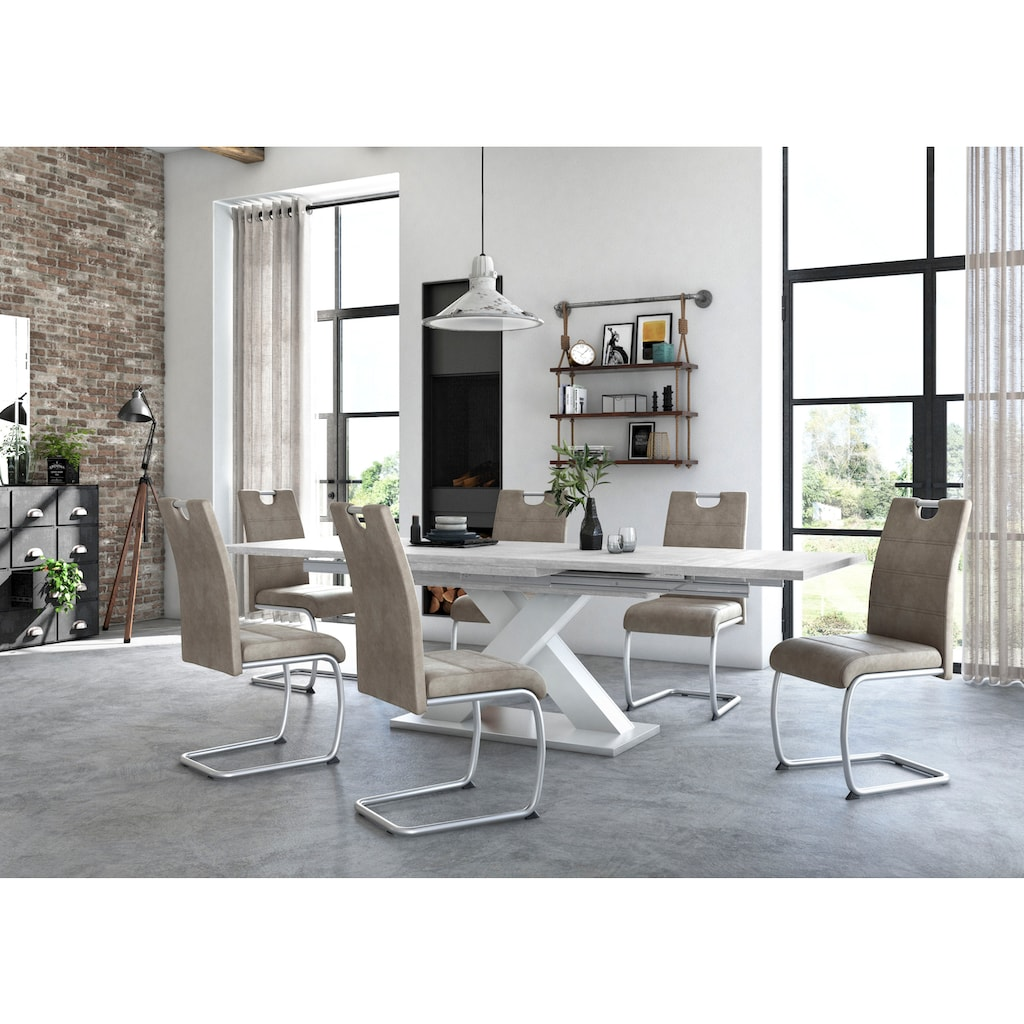 Esstisch »Komfort C«, mit X-Gestell in weiß und mit Auszugsfunktion, Breite 180-280 cm