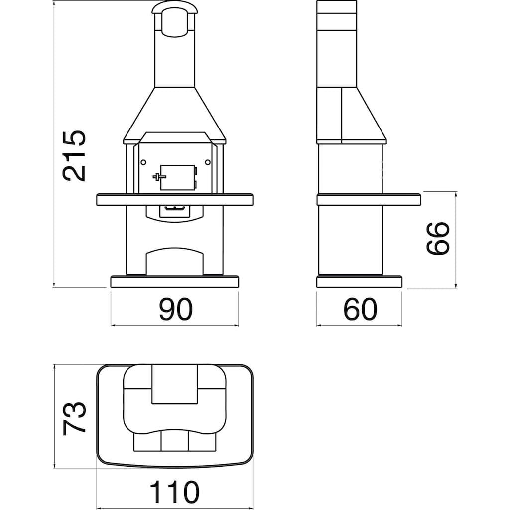 WELLFIRE Grillkamin »Nova Quatro«, BxTxH: 110x73x215 cm