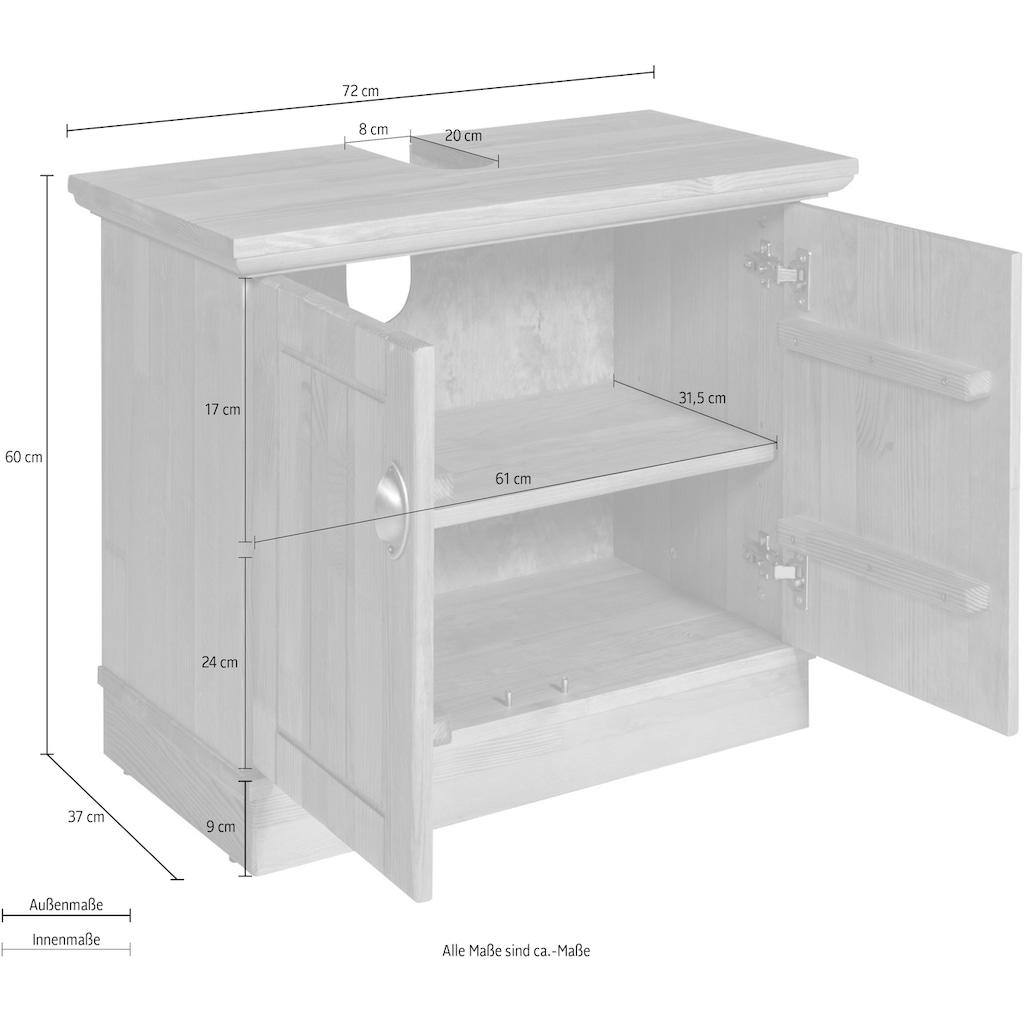 Home affaire Waschbeckenunterschrank »Eva«, aus Kiefer massiv, Breite 72 cm