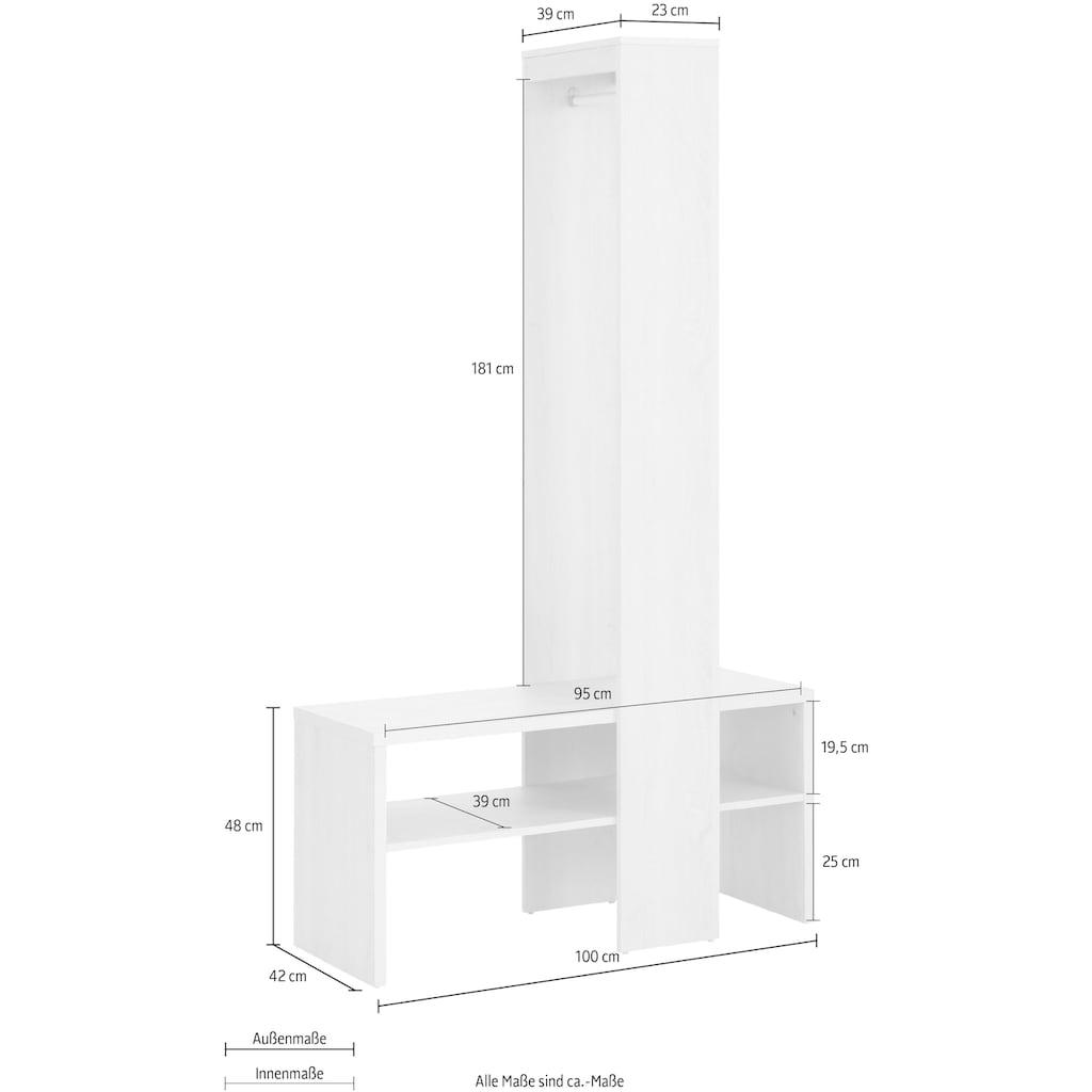 Home affaire Garderobenschrank »Harper«, mit zwei offenen Fächern, inklusive einer Kleiderstange