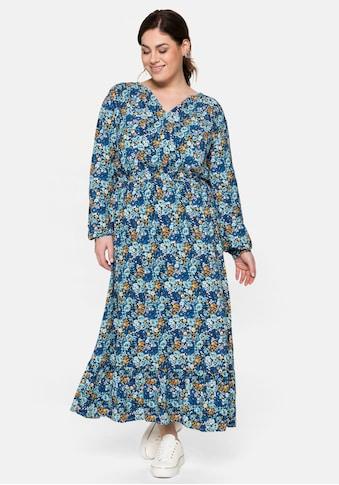 Sheego Maxikleid, mit floralem Print und V-Ausschnitt kaufen