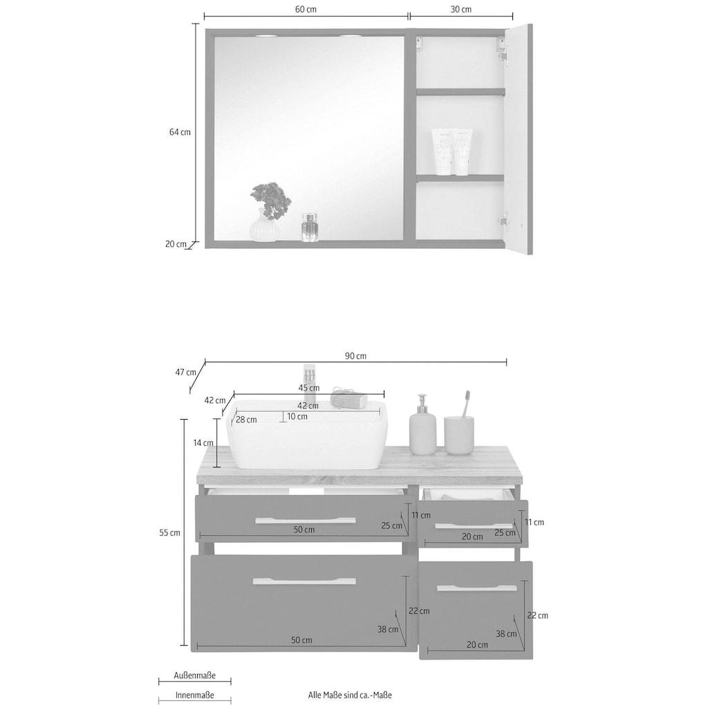 HELD MÖBEL Badmöbel-Set »Davos«, (3 St.), mit 2 Touch-LED-Einbauleuchten