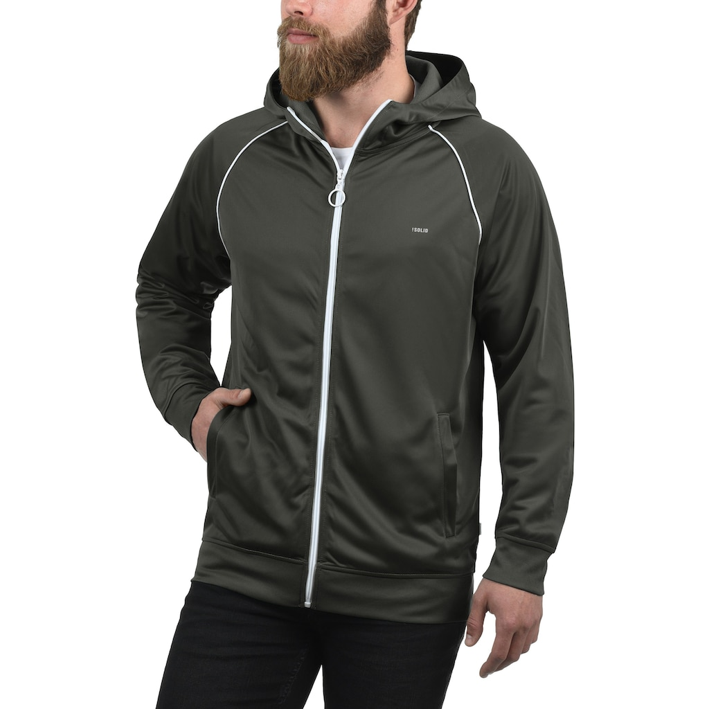 Solid Trainingsjacke »Leandros«, Sweatshirtjacke mit weißem Reißverschluss