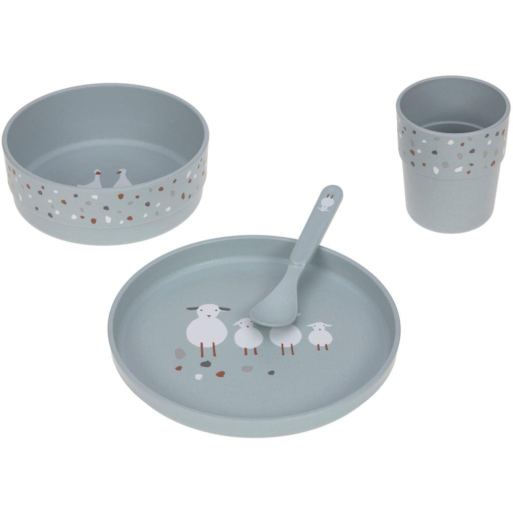 Lässig Kindergeschirr-Set »Tiny Farmer, Sheep/Goose blue«, (Set, 4 tlg.)