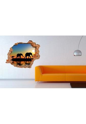 Conni Oberkircher´s Wandsticker »3 D Sticker Backstein Walking Elephants« kaufen