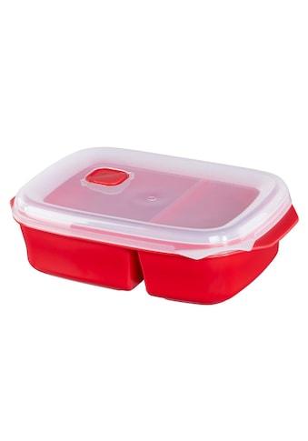 Xavax Mikrowellendose mit 2 Speisefächern, 1,3 l, Rot kaufen