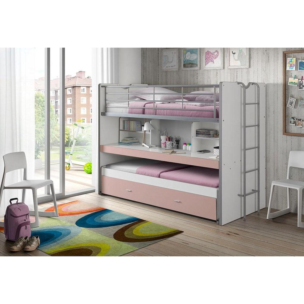 Vipack Hochbett »Bonn«, mit Schreibtisch und 3 Schlafgelegenheiten