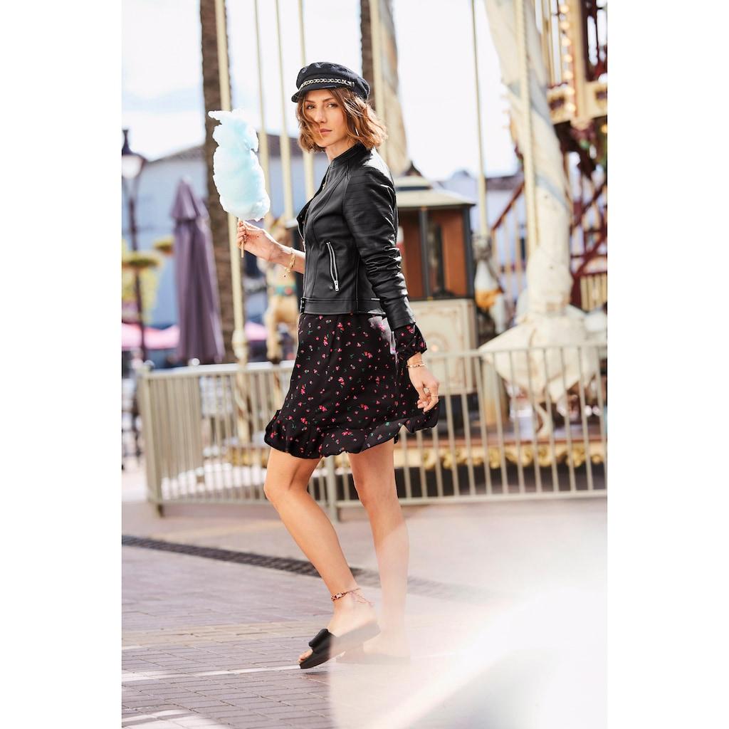 Aniston CASUAL Kurzjacke, aus weichem Lederimitat mit Ziersteppungen