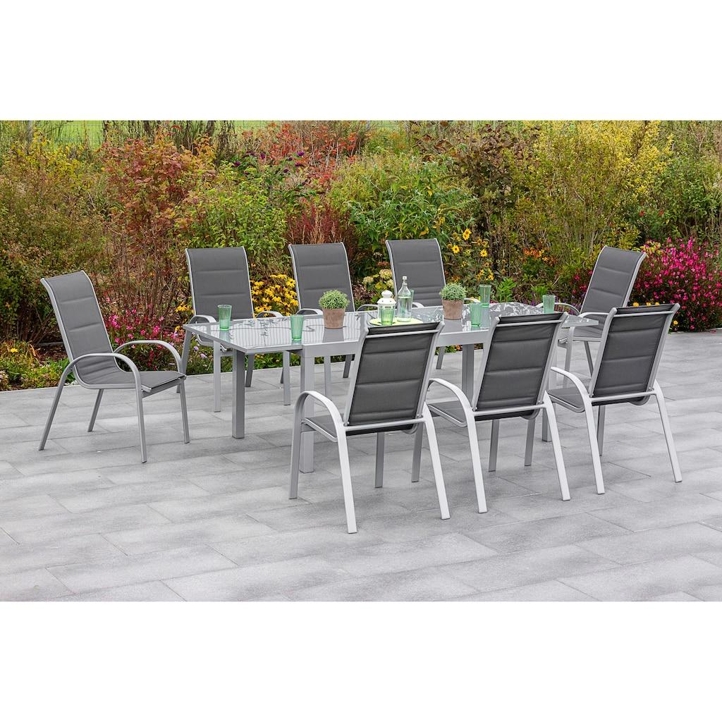 MERXX Gartenmöbelset »Amalfi di lusso«, (9 tlg.), 8 Stapelsessel, Hochlehner mit ausziehbarem Tisch