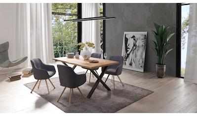 Homexperts Essgruppe »Lesley + Carlo«, (Set, 5-tlg oder 7tlg.), Baumkantentisch Breite... kaufen