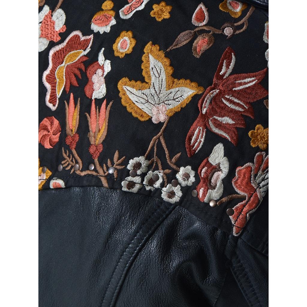 MUSTANG Bikerjacke mit stylischem Muster auf dem Rücken