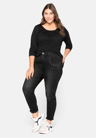 Sheego Stretch-Jeans, mit Nieten-Applikation kaufen