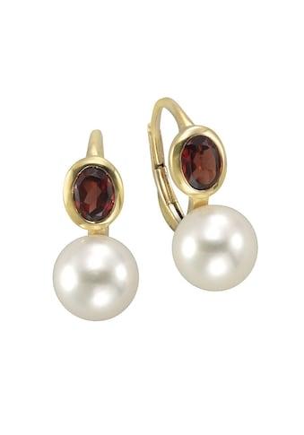 Vivance Paar Ohrhänger »333/- Gelbgold mit Granat/Perle«, mit Geschenketui kaufen