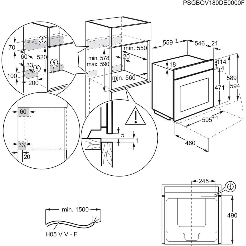 AEG Einbaubackofen »BPC35502BA«, BPB355020M, mit Backauszug, Pyrolyse-Selbstreinigung, SteamBake - Feuchtigkeitszugabe
