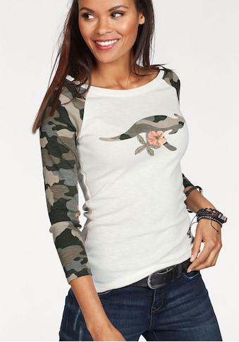 KangaROOS 3/4-Arm-Shirt, mit tarnfarbenen Camouflage-Ärmeln und Front-Print kaufen