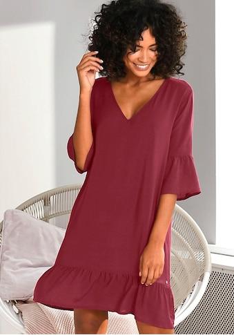 s.Oliver Nachthemd, im Allover-Muster mit Rüschensäumen kaufen