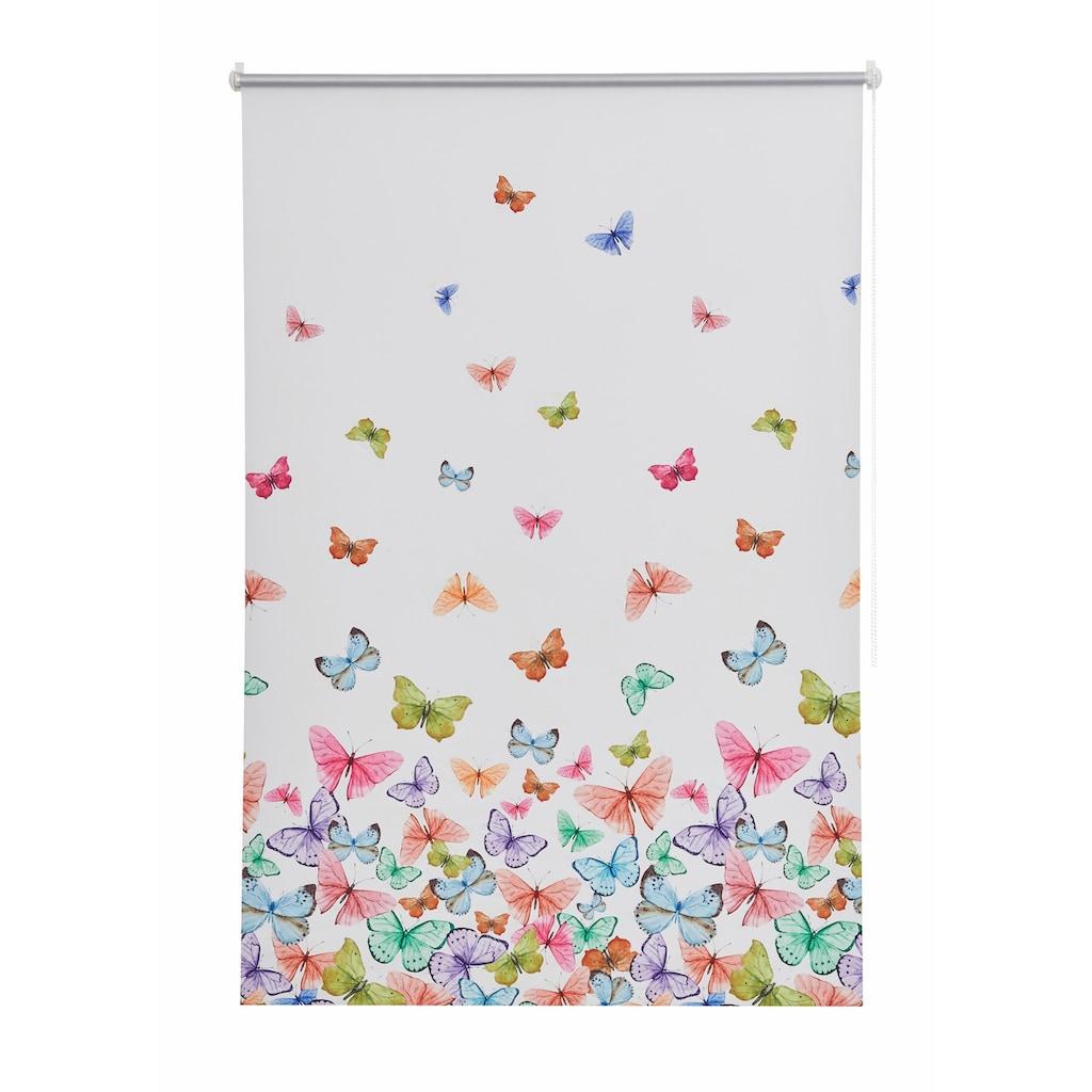 Home affaire Seitenzugrollo »Butterfly«, verdunkelnd, energiesparend, ohne Bohren, freihängend, Hitzeschutz