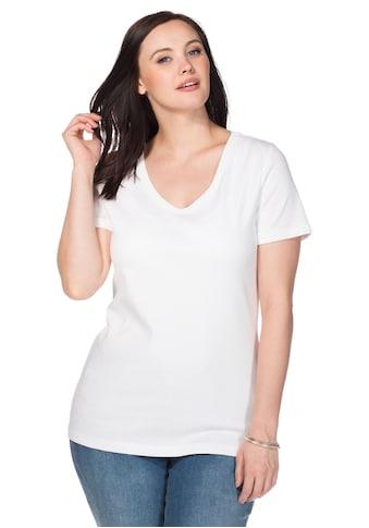 Sheego T-Shirt, mit V-Ausschnitt kaufen