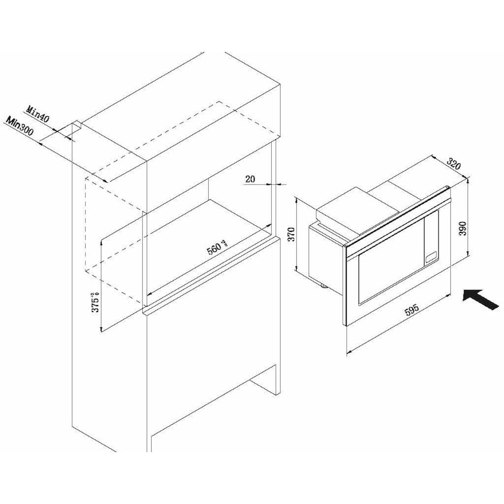 Amica Einbau-Mikrowelle »EMW 13170 S«, Grill-Mikrowelle, 1600 W, digitaler Timer