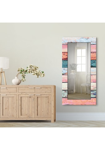 Artland Wandspiegel »Bunte Holzplanken«, gerahmter Ganzkörperspiegel mit Motivrahmen,... kaufen