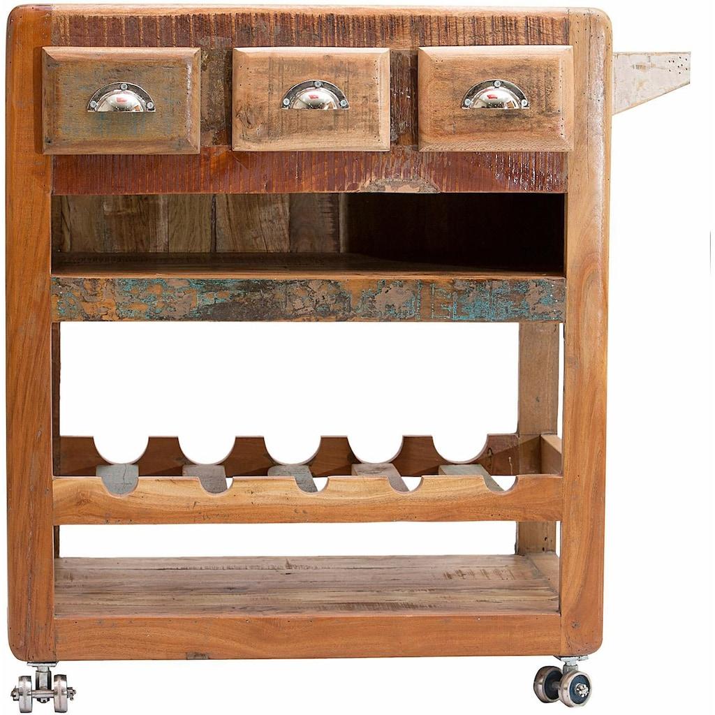 SIT Küchenwagen »Fridge«, aus recyceltem Altholz, Shabby Chic, Vintage