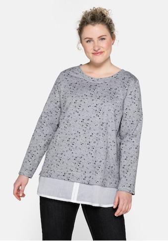 Sheego Sweatshirt, mit Blusenbesatz am Saum kaufen