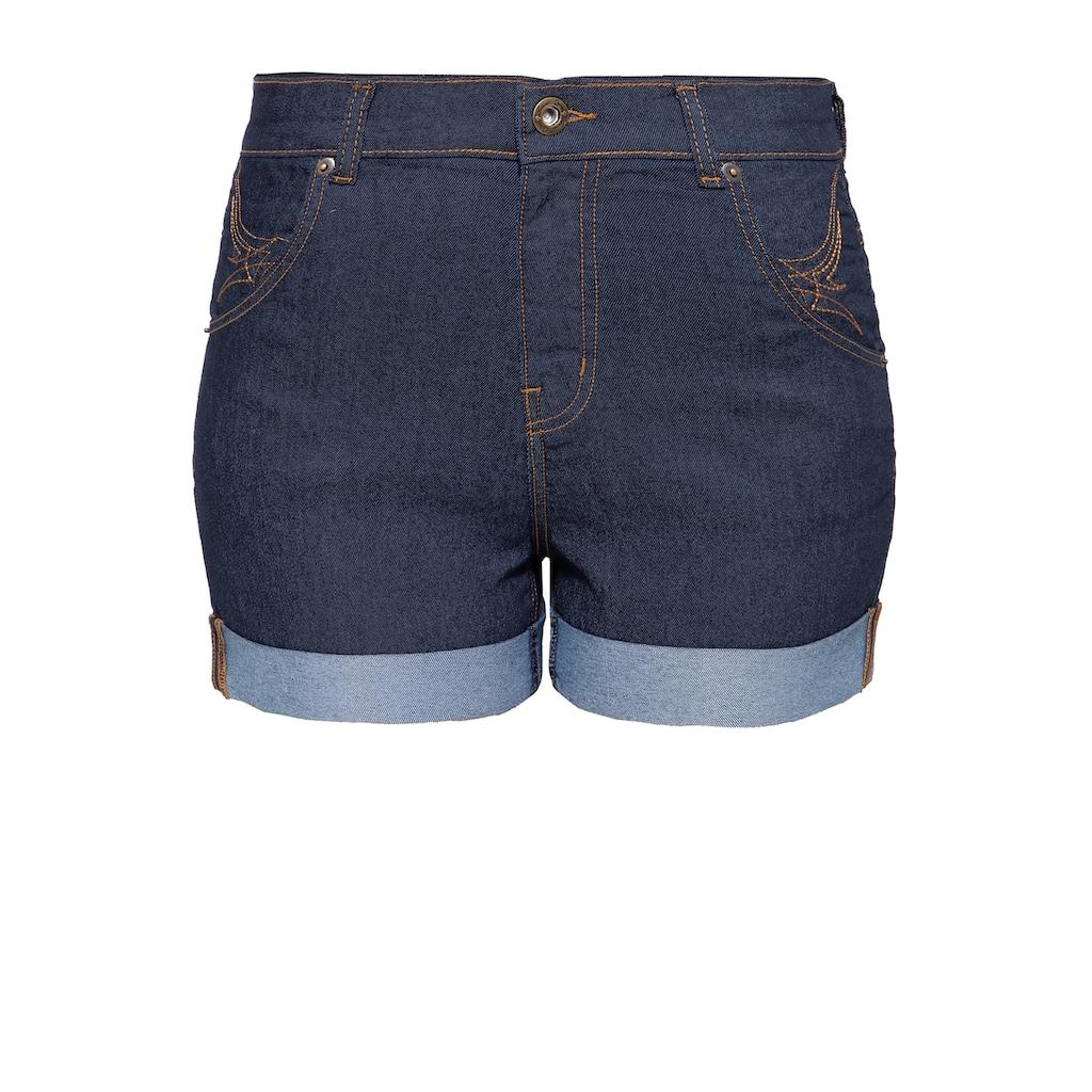 QueenKerosin Jeansshorts, mit Saumaufschlag und besticken Gesäßtaschen