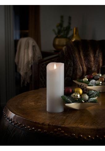 KONSTSMIDE LED-Kerze, LED Echtwachskerze, weiß, mit 3D Flamme, Ø 7,5 cm, Höhe: 20,5 cm kaufen