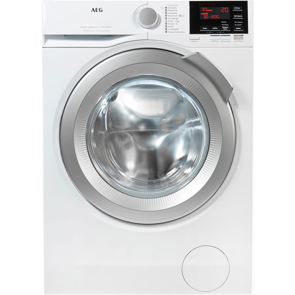 AEG Waschmaschine »L6FBA68«, 6000, L6FBA68, 8 kg, 1600 U/min, ProSense - Mengenautomatik