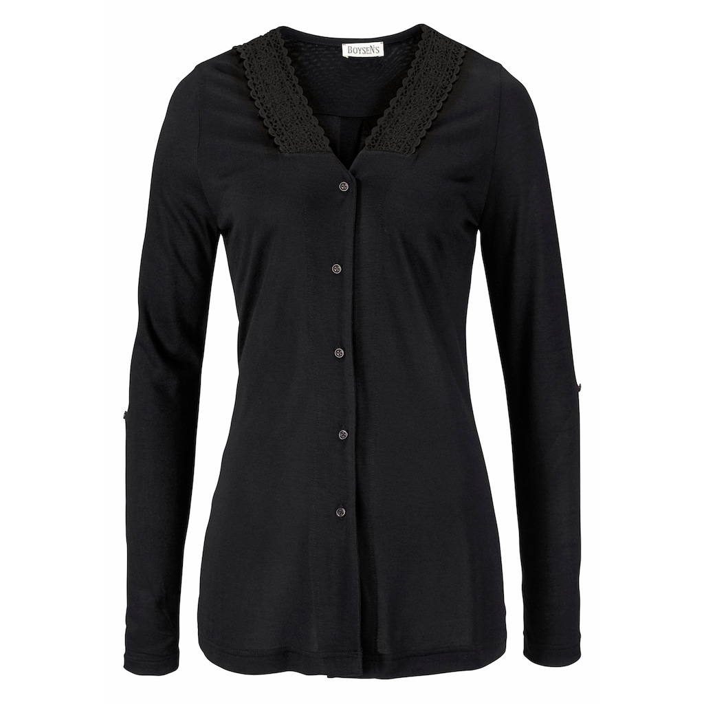 Boysen's Shirtbluse, mit Spitze und tiefen Seitenschlitzen