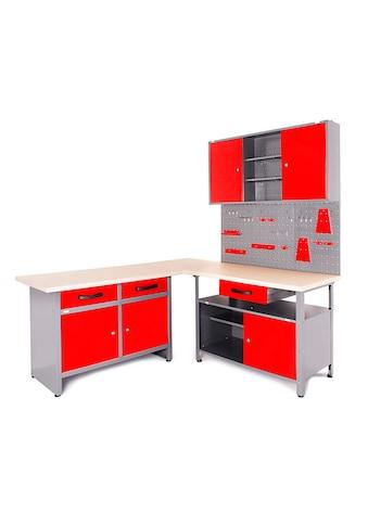 ONDIS24 Werkstatt - Set »Basic One«, 2x Werkbank, 1x Werkstattschrank, 3x Lochwand kaufen