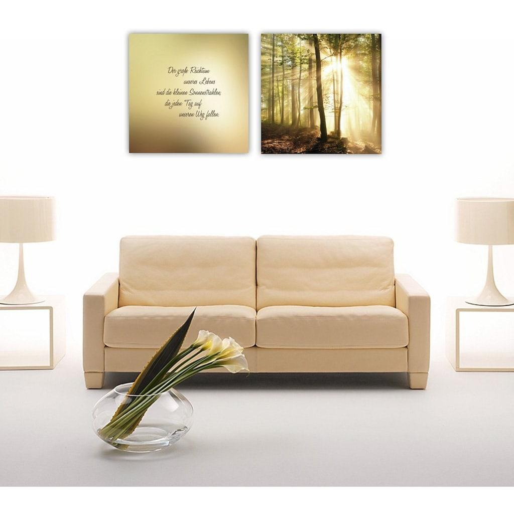 Home affaire Leinwandbild »Der große Reichtum unseres Lebens sind…«, (Set), Maße (B/H): 120/60 cm