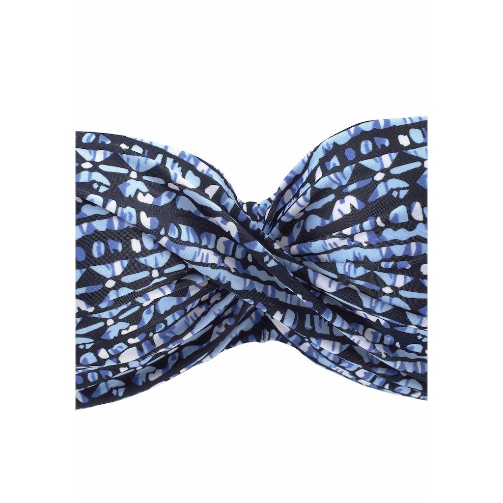 LASCANA Bügel-Bandeau-Bikini, mit grafischen Muster