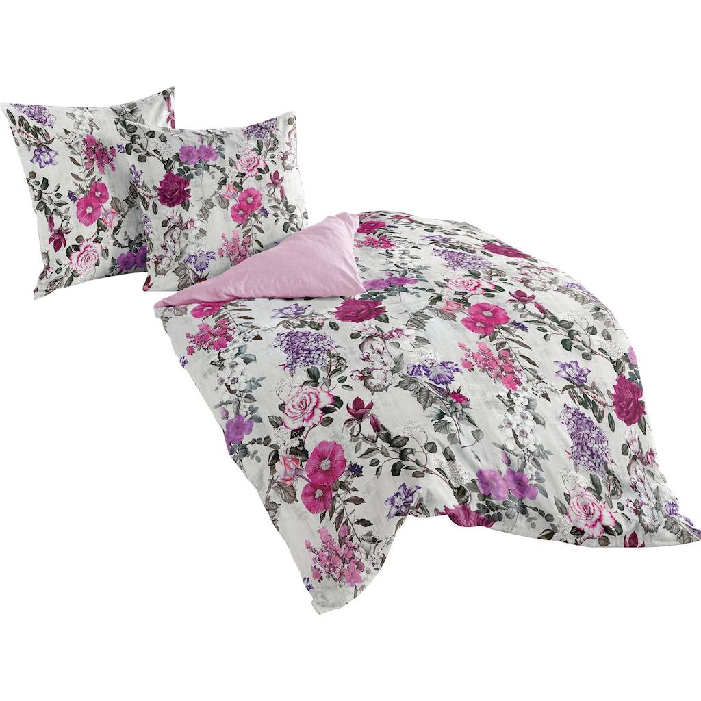 BIERBAUM Wendebettwäsche »Flowers Viola«, mit floralem Muster