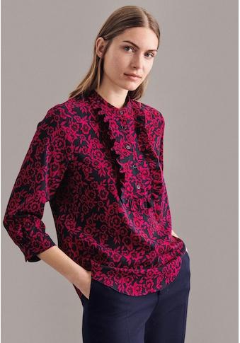 seidensticker Hemdbluse »Schwarze Rose«, 3/4-Arm Kragen Druck kaufen