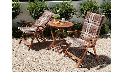 MERXX Gartenmöbelset »Borkum«, 5 - tlg., 2 Hochlehner, Tisch Ø 65 cm, klappbar, Eukalyptus kaufen