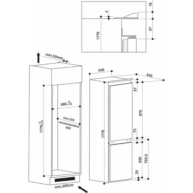 Privileg Einbaukühlgefrierkombination, 177 cm hoch, 54,5 cm breit