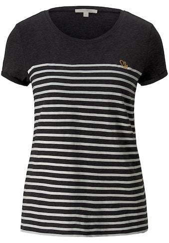 TOM TAILOR Denim T-Shirt, im Ringel Look mit Stickerei kaufen