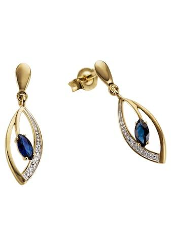 Firetti Paar Ohrhänger »Tropfen, bicolor, zweifarbig«, mit Saphir und Brillanten kaufen