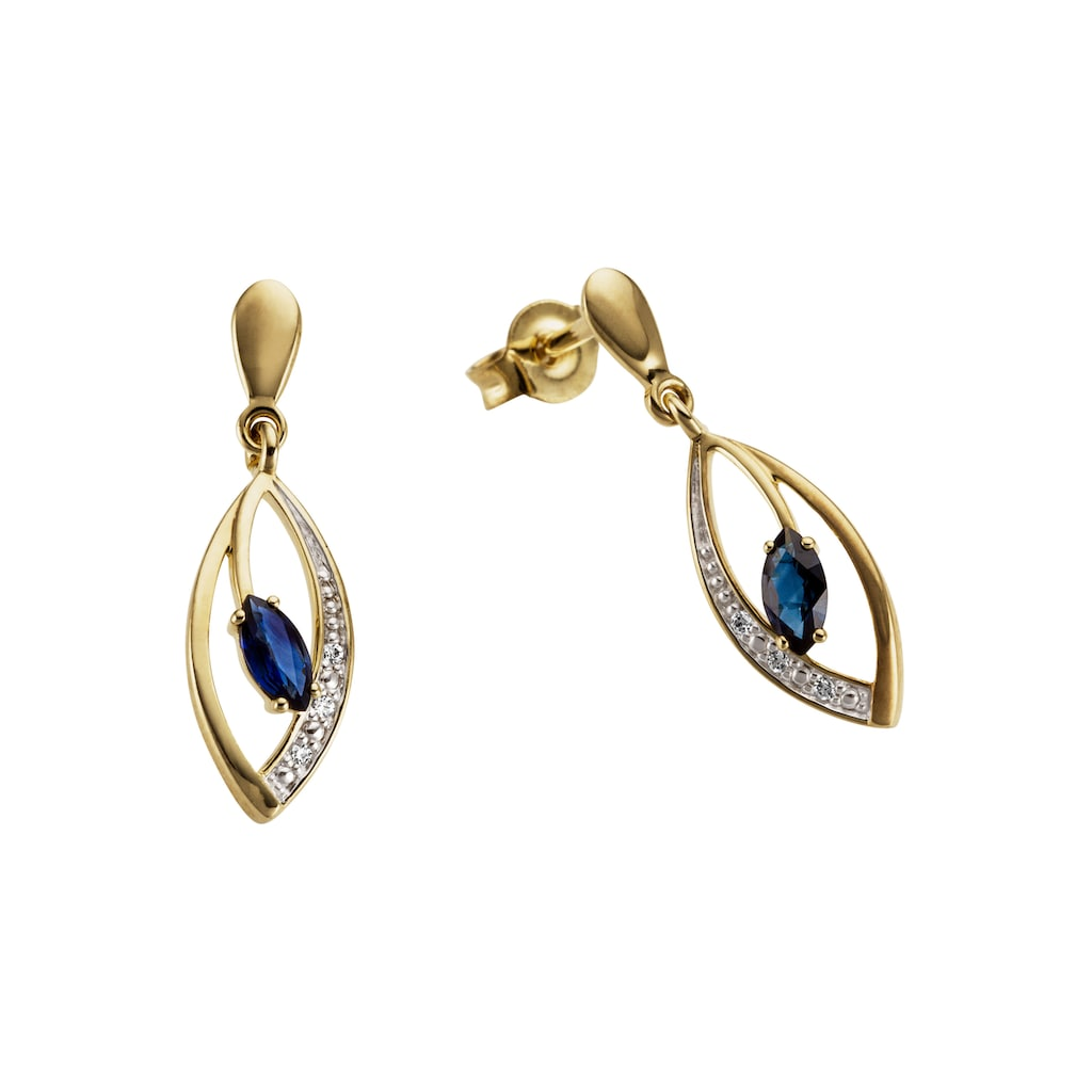 Firetti Paar Ohrhänger »Tropfen, bicolor, zweifarbig«, mit Saphir und Brillanten