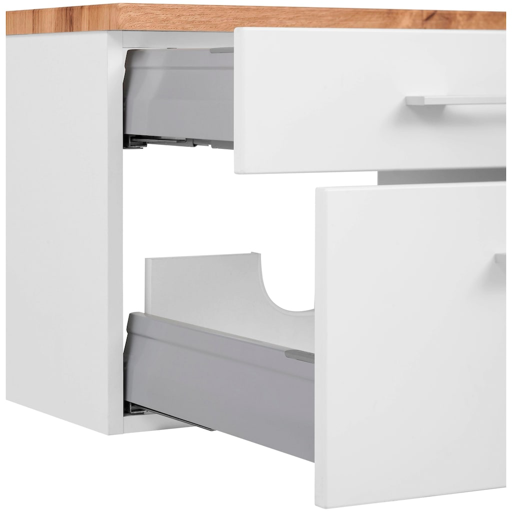 HELD MÖBEL Badmöbel-Set »Davos«, (3 St.), Spiegel inklusive Beleuchtung, Hängeschrank und Waschbeckenunterschrank