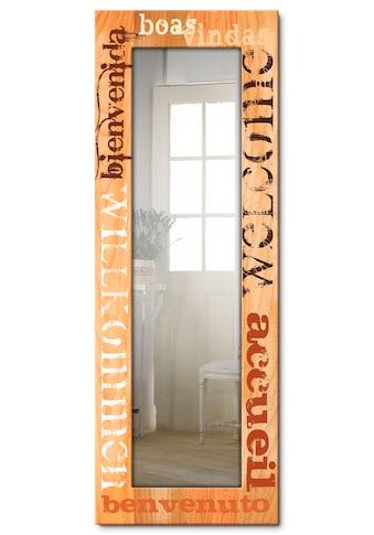 Artland Wandspiegel »Willkommen«, gerahmter Ganzkörperspiegel mit Motivrahmen,... kaufen