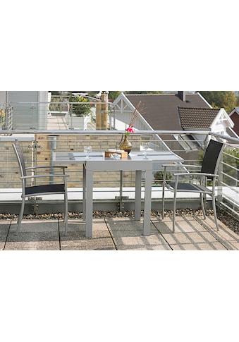 MERXX Balkonset »Milano«, 3-tlg., 2 Stapelsessel, Tisch 65(130)x65 cm, Alu/Textil kaufen