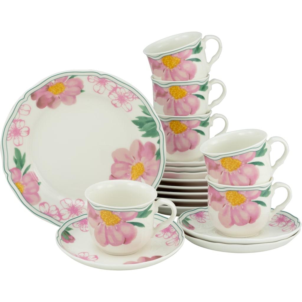 CreaTable Kaffeeservice »Rose«, (Set, 18 tlg.), Premium-Porzellan