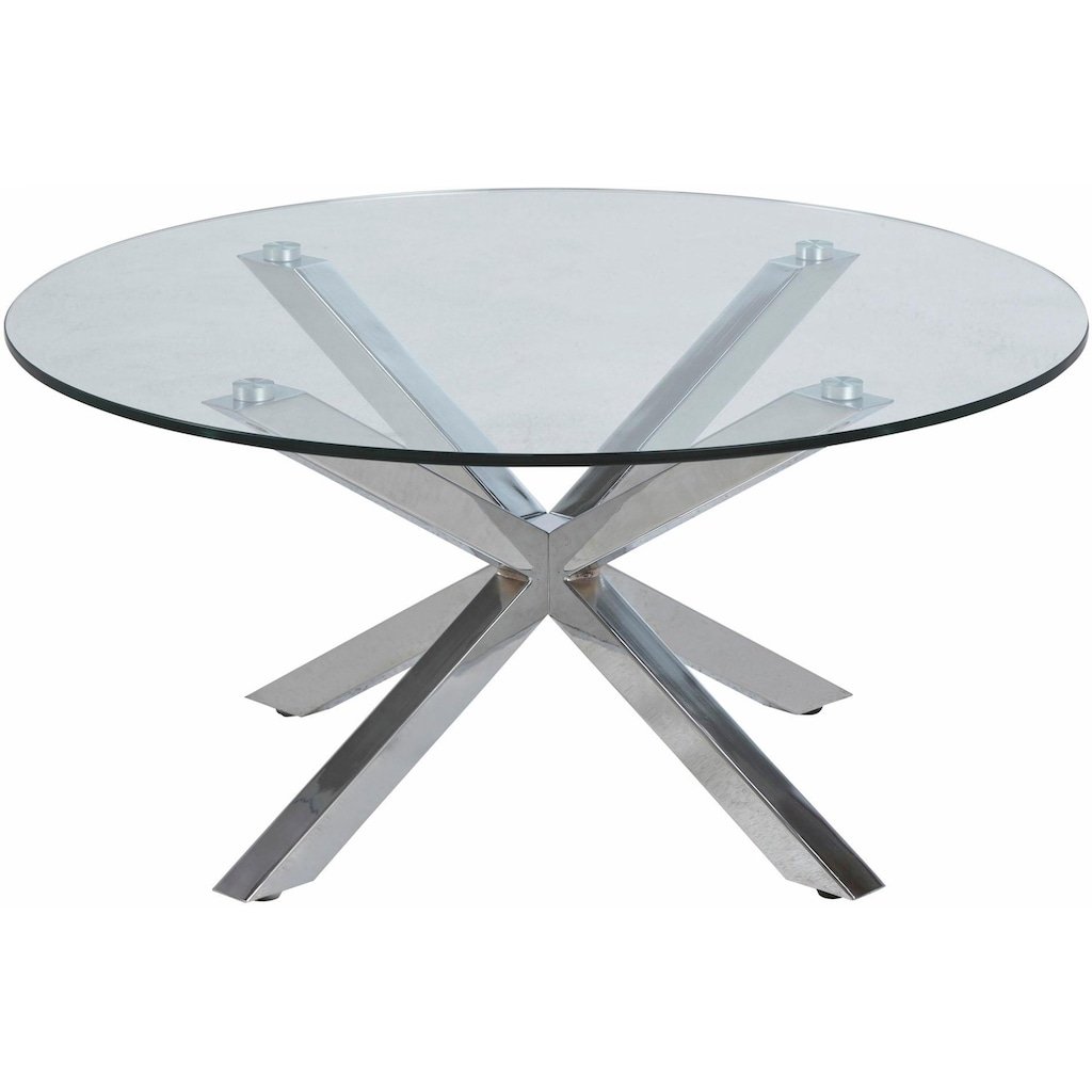 andas Couchtisch »Hanna«, mit Glastischplatte aus klarem Glas und Chrom Gestell