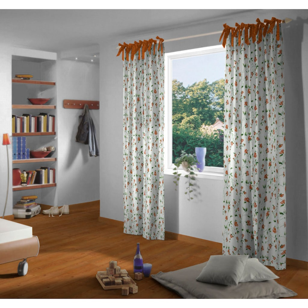 VHG Vorhang »Miri«, Leinenoptik, Rose, Streifen