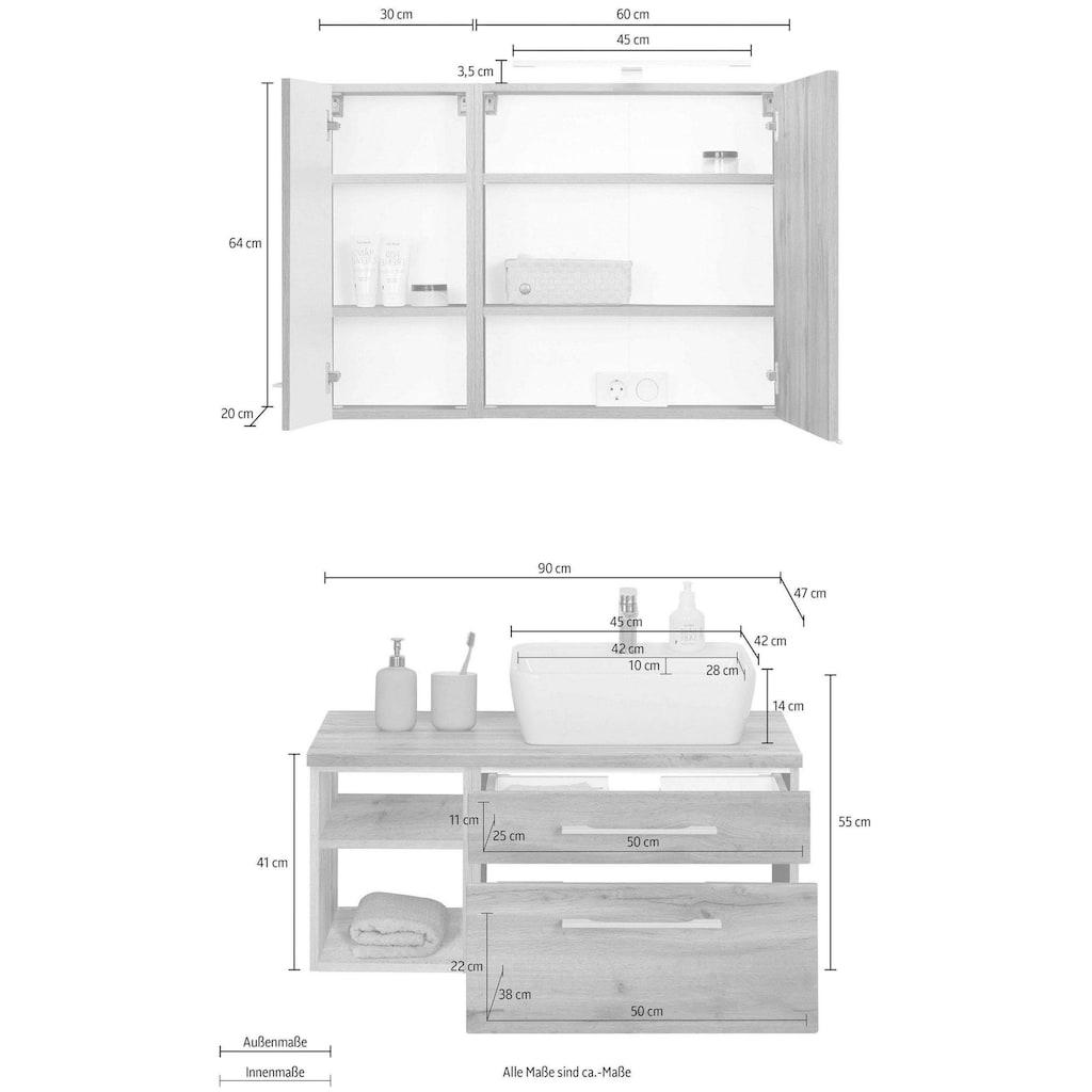 HELD MÖBEL Badmöbel-Set »Davos«, (3 St.), Spiegelschrank mit extra Regal