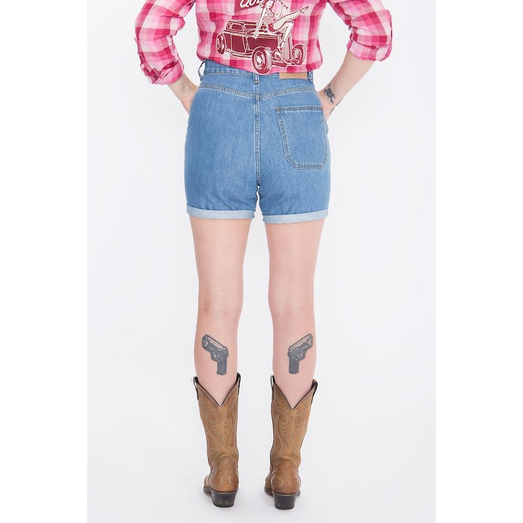 QueenKerosin Jeansshorts, Stickereien im Western-Look