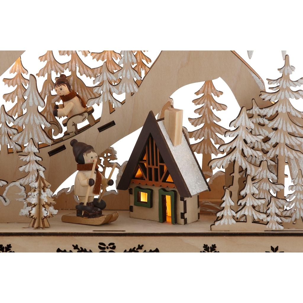 LED Baum »Schneelandschaft«, Warmweiß, mit Hütte und Skifahrern, Höhe ca. 48 cm